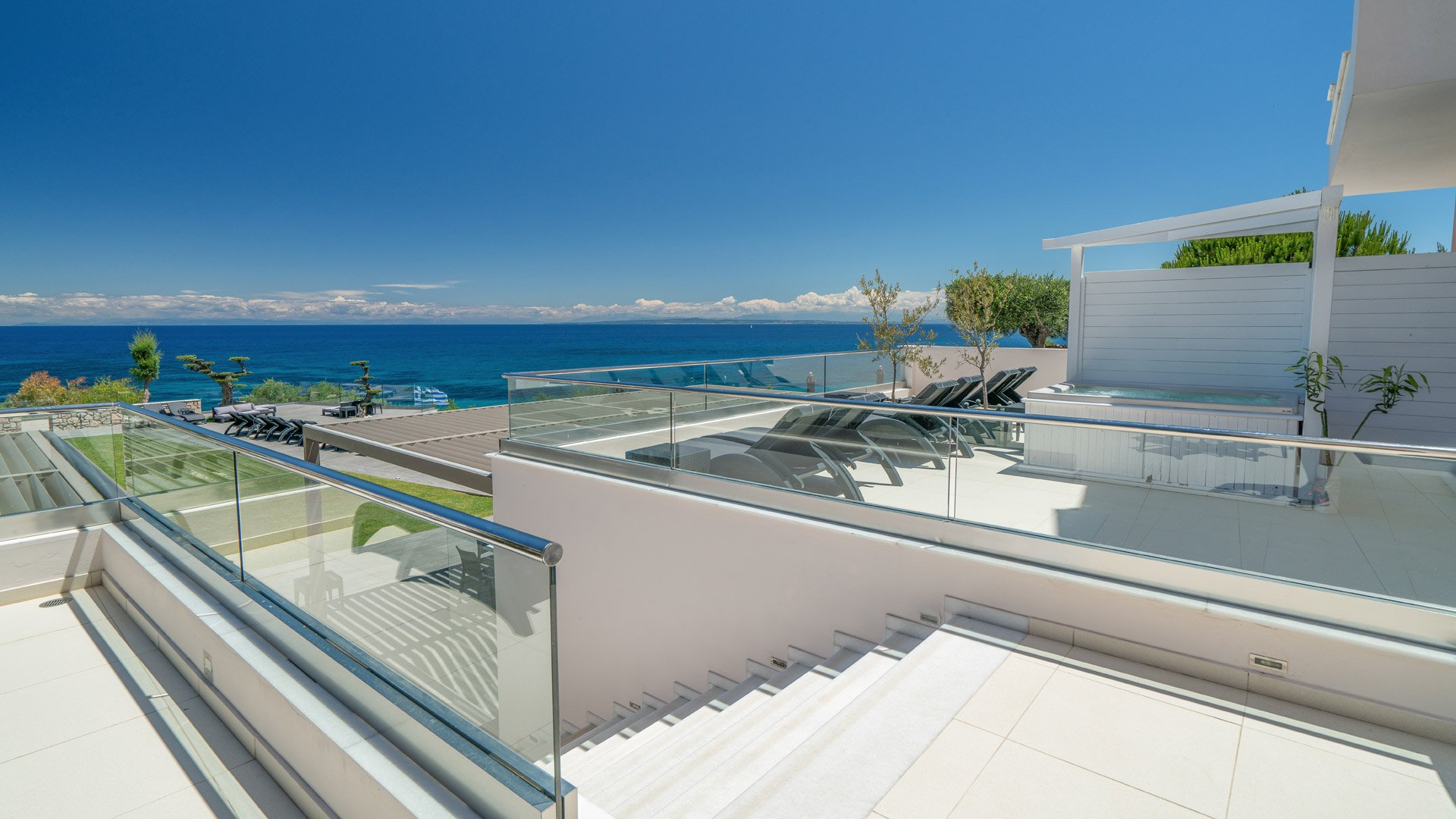 The veranda and Ionian Sea View that Kymothoe Elite Provides in Zakynthos